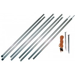 Foldable steel awning pole kit