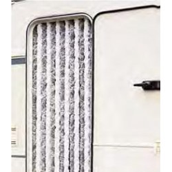 Cortina Tercipelo Puerta Caravana Gris y Blanca