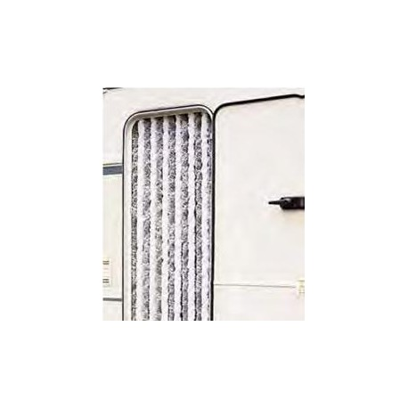 Caravan Chenille Curtain Grey and White