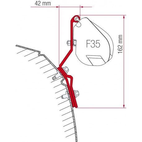 Adapter awning F35 for VW T4 roof standard and liftable (1990-2003)