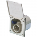 Male socket P17 16A white recessed straight