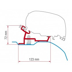 Awning adapter F65 / F80 Fiat Ducato - Citroen Jumper - Peugeot Boxer - H2 L2 / L3 from 2006