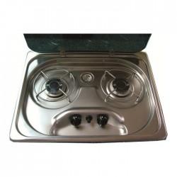 Table de cuisson 2 feux avec couvercle et piezo SUTER